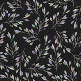 Seamless pattern with watercolor leaves and branches on a dark background, hand drawn in a pastel. Wedding decoration Stock Photo