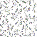 Seamless pattern with watercolor leaves and branches on a white background, hand drawn in a pastel. Wedding decoration Royalty Free Stock Photos