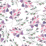 Seamless pattern with the watercolor leaves and branches on a white background, hand drawn in a pastel. Seamless pattern with the watercolor leaves and branches Royalty Free Stock Photos