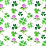 Seamless pattern with watercolor leaves and flowers of clover for design Royalty Free Stock Images