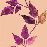 Seamless pattern with watercolor violet and orange leaves vector illustration