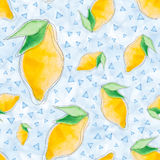 Seamless pattern with watercolor lemons and blue triangles on a blue background. Seamless pattern with watercolor lemons and blue triangles on a blue background stock illustration