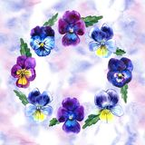 Seamless pattern with Watercolor Violet Flowers Pansy and Leaves on blue background. Botanical watercolor illustration Stock Images