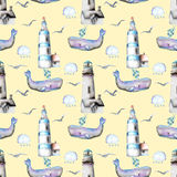 Seamless pattern with watercolor lighthouses, seagulls, whales and rain clouds Royalty Free Stock Photography