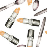 A seamless pattern with the watercolor lipstick and makeup brushes. Stock Image