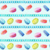Seamless pattern. Watercolor  macaroons and festiv flags. Royalty Free Stock Images