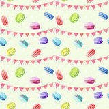 Seamless pattern. Watercolor  macaroons and festiv flags. Colorful watercolor illustration of baking Stock Photos