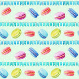 Seamless pattern. Watercolor  macaroons and festiv flags. Colorful watercolor illustration of baking Royalty Free Stock Photography