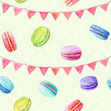Seamless pattern. Watercolor  macaroons and festiv flags. Colorful watercolor illustration of baking Royalty Free Stock Images