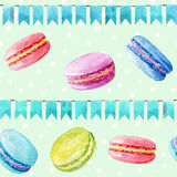 Seamless pattern. Watercolor  macaroons and festiv flags. Colorful watercolor illustration of baking Stock Image