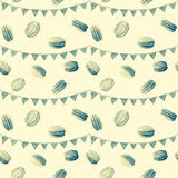 Seamless pattern. Watercolor  macaroons and festiv flags. Monochrome illustration of baking.  Color Sepia Stock Images