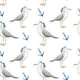 Seamless pattern watercolor in sea-style seagulls vector illustration