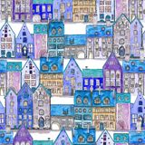 Seamless pattern of watercolor medieval houses in the night. Seamless pattern of watercolor hand drawn old medieval houses, european old town street vew. Design stock images