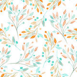 Seamless pattern with the watercolor mint and orange leaves and branches on a white background Royalty Free Stock Photos