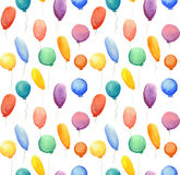 Seamless pattern with watercolor multi-colored balloons Stock Photography