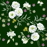 Seamless pattern of watercolor multicolor flowers royalty free illustration