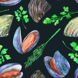 A seamless pattern with the watercolor mussels and greenery Stock Image