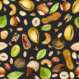 Seamless pattern with watercolor nuts Royalty Free Stock Images