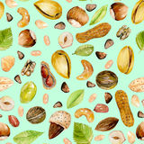 Seamless pattern with watercolor nuts Royalty Free Stock Photography
