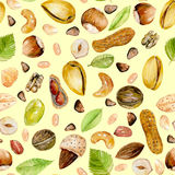 Seamless pattern with watercolor nuts Royalty Free Stock Photos