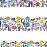 Seamless pattern with watercolor oceanic fishes, corals and seaweeds ornament. Hand painted on a white background vector illustration