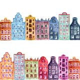 Seamless pattern of watercolor old europe houses stock photo