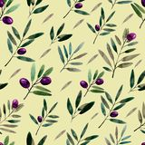 Seamless pattern with watercolor olive branches. Hand drawn illustration.  vector illustration