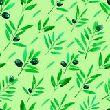 Seamless pattern with watercolor olive branches. Hand drawn illustration.  stock illustration