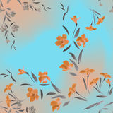 Seamless pattern watercolor orange flowers on a turquoise carrot background Royalty Free Stock Image