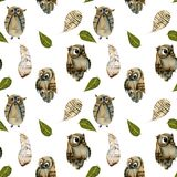 Seamless pattern of watercolor owls and feathers vector illustration