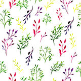 Seamless pattern with watercolor painted leaves and ornate branches. Vector tiled background. Royalty Free Stock Photos