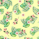 Seamless pattern with watercolor palm and monstera leaves, exotic pink flowers. Hand painted on a dark turquoise background Stock Images