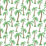 Seamless pattern with watercolor palm trees. Endless print  vector texture. Travel tropical background. Stock Images