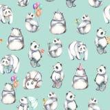 Seamless pattern with watercolor pandas Stock Photo
