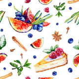 Seamless pattern with watercolor pastries and sweets. Stock Photos