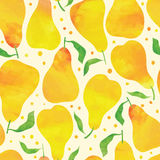 Seamless pattern with watercolor pears Royalty Free Stock Photo