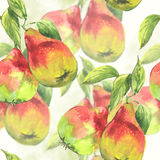 Seamless pattern Watercolor pears Stock Photos