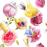 Seamless pattern with watercolor perfumes Stock Image