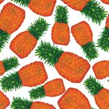 Seamless pattern with watercolor pineapple. Tropical fruits. Exotic pattern vector illustration