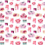 Seamless pattern with watercolor pink gift boxes Royalty Free Stock Photos