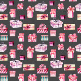 Seamless pattern with watercolor pink gift boxes Stock Photography