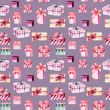 Seamless pattern with watercolor pink gift boxes Stock Images