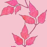 Seamless pattern with watercolor pink leaves vector illustration