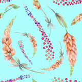 Seamless pattern with the watercolor pink lupine flowers and abstract mimosa flowers Stock Photo