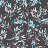Seamless pattern with the watercolor pink, mint and purple leaves and branches on a dark background Stock Photography