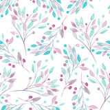 Seamless pattern with the watercolor pink, mint and purple leaves and branches on a white background Stock Photography