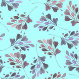 Seamless pattern with the watercolor pink and purple leaves and branches  Royalty Free Stock Image