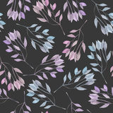 Seamless pattern with the watercolor pink and purple leaves  Royalty Free Stock Photos