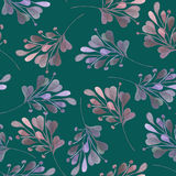 Seamless pattern with the watercolor pink and purple leaves and branches Stock Images