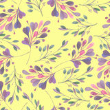 Seamless pattern with the watercolor pink and purple leaves and branches Royalty Free Stock Photo